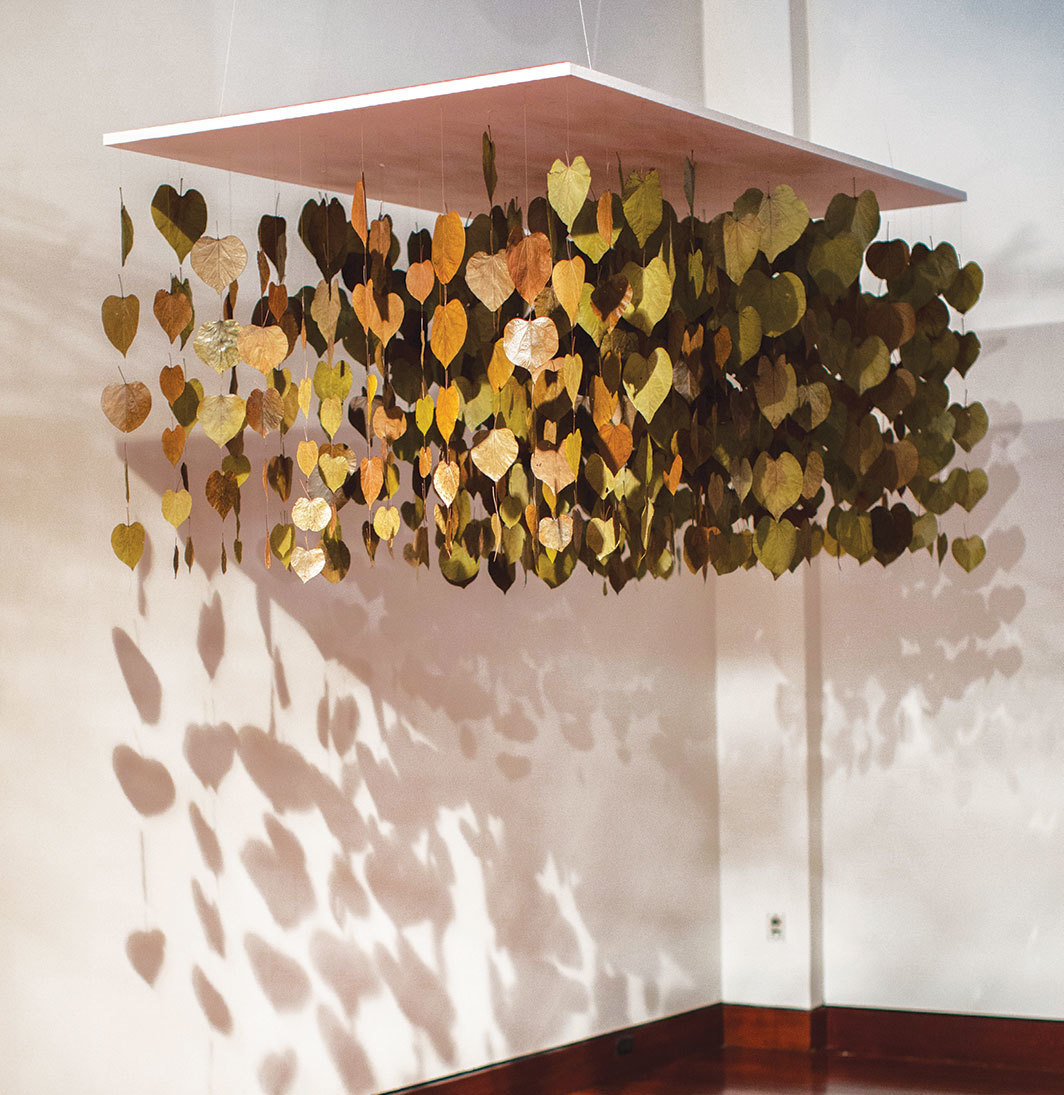 Maren Hassinger, The Dream, 2001, preserved redbud leaves, thread. Installation view, Spelman College Museum of Fine Art, Atlanta, 2015. Photo: Progressive Images.