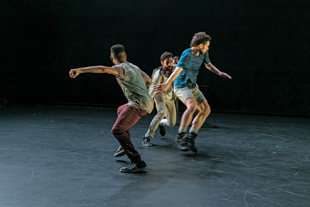 Chris Cochrane, Dennis Cooper, Ishmael Houston-Jones, Them, 1986. Rehearsal view, Performance Space New York, June 20, 2018. Johnnie Cruise Mercer, Alvaro Gonzalez Dupuy, and Michael Parmelee. Photo: Rachel Papo.