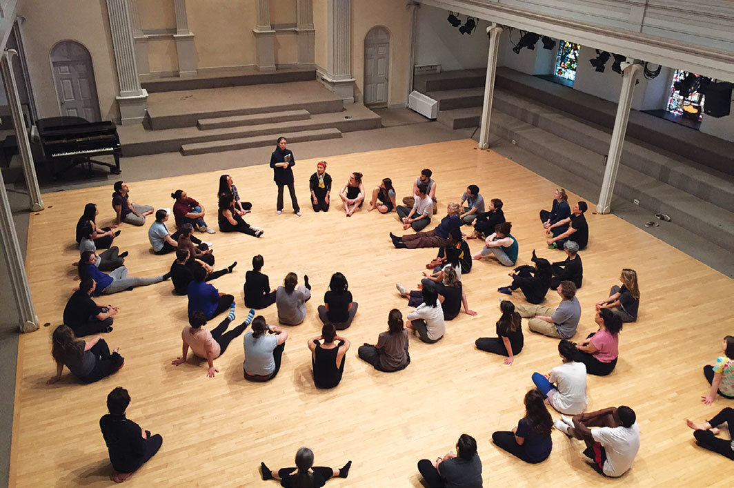 *Eiko Otake teaching a Delicious Movement workshop, Danspace Project, New York, 2016.* Photo: Lily Cohen.