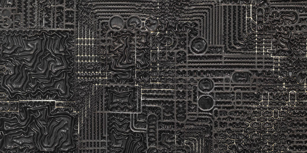 "Analia Saban, Pleated Ink (Computer Chip, TMS 1000, Texas Instrument, 1974) (detail), 2018, laser-carved paper and ink on wooden panel,  60 × 60 × 2 1⁄8"". From the series ""Pleated Ink,"" 2016–."