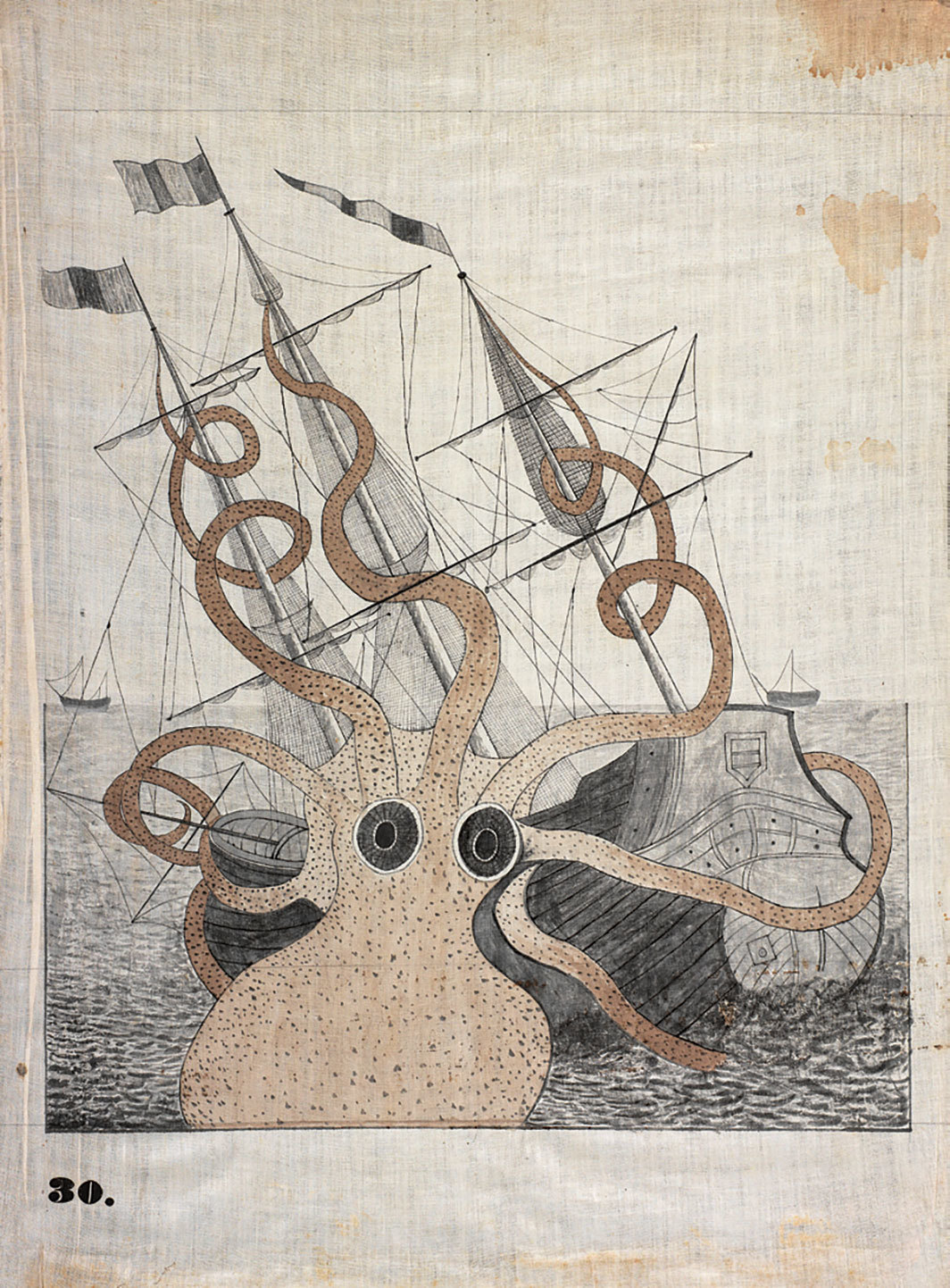 "Orra White Hitchcock, Colossal Octopus (After Pierre Denys  de Montfort), ca. 1828–40, pen ink and watercolor on cotton, 27 7⁄8 × 21""."