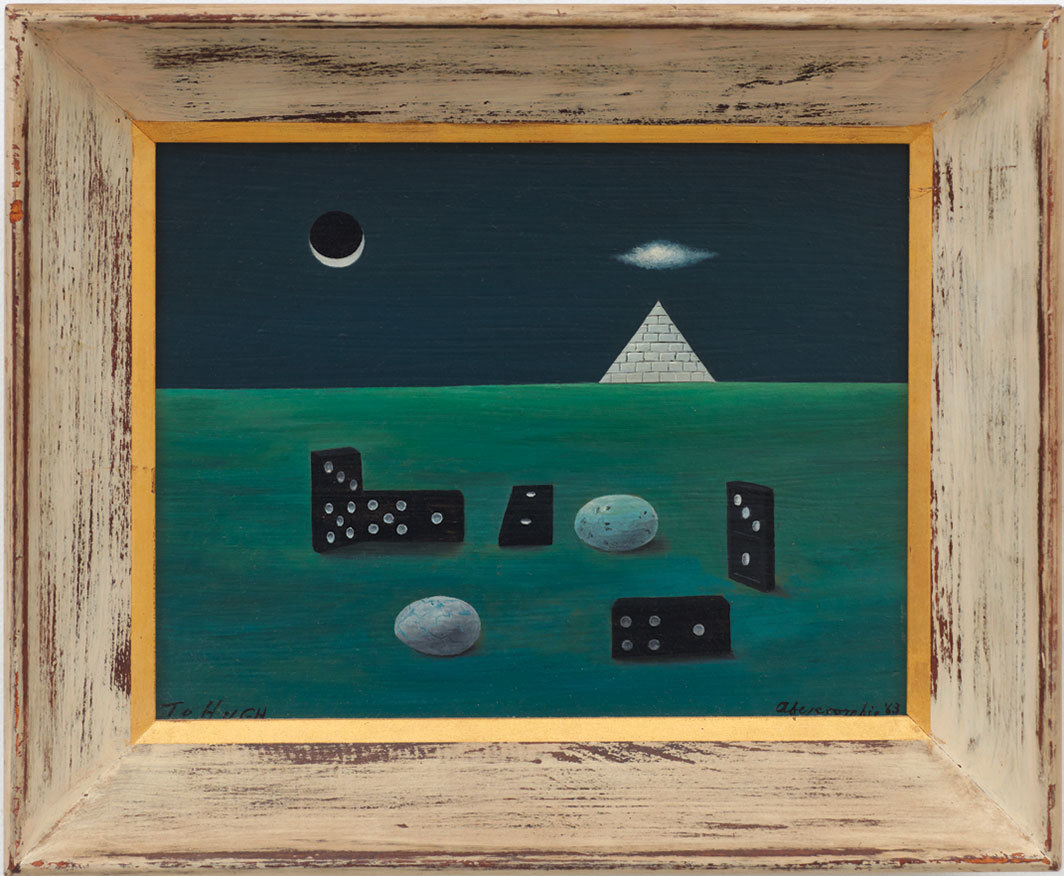 "Gertrude Abercrombie, Birds, Eggs, and Dominoes with Pyramid, 1963, oil on board, painted wooden frame, 11 × 13""."