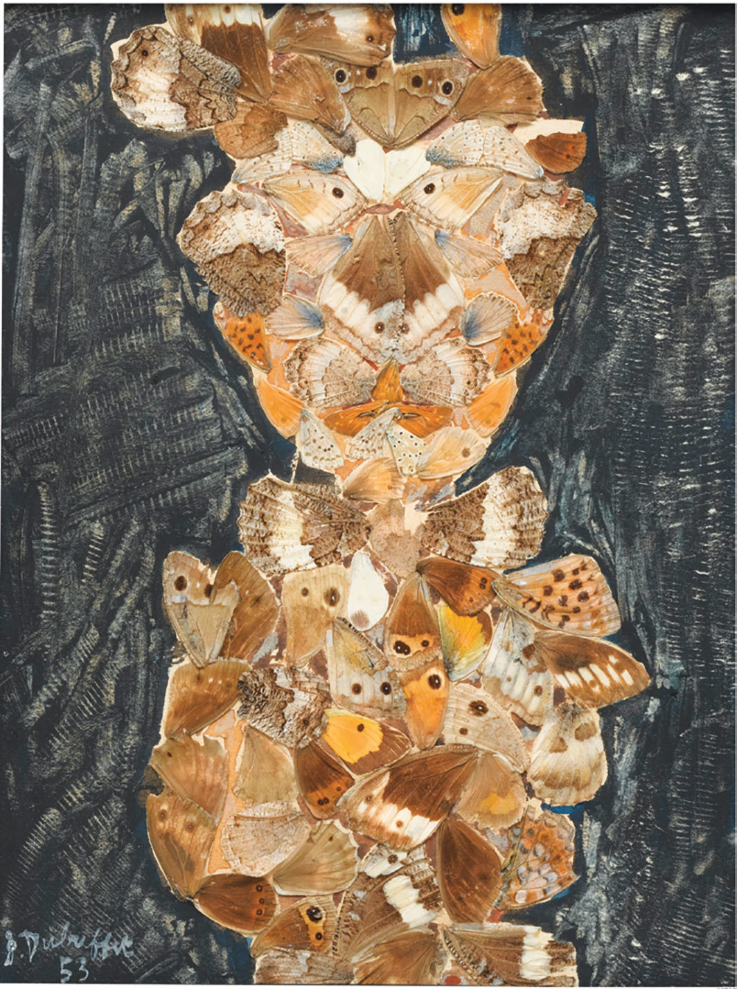 "Jean Dubuffet,  Le strabique, 1953, butterfly wings and gouache on paperboard, 9 3⁄4 × 7"". From ""Intimate Infinite: Imagine a Journey."""