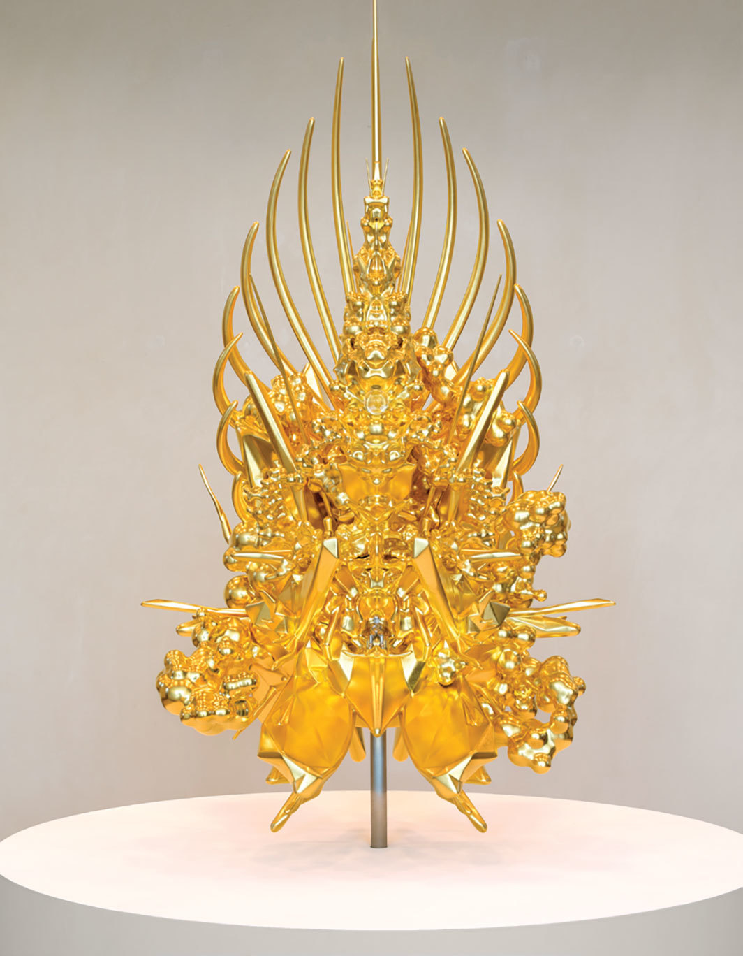 "Kohei Nawa, Throne (g/p_ boy), 2017 3-D printed object, gold leaf, 55 x 30 x 23 1/4""."