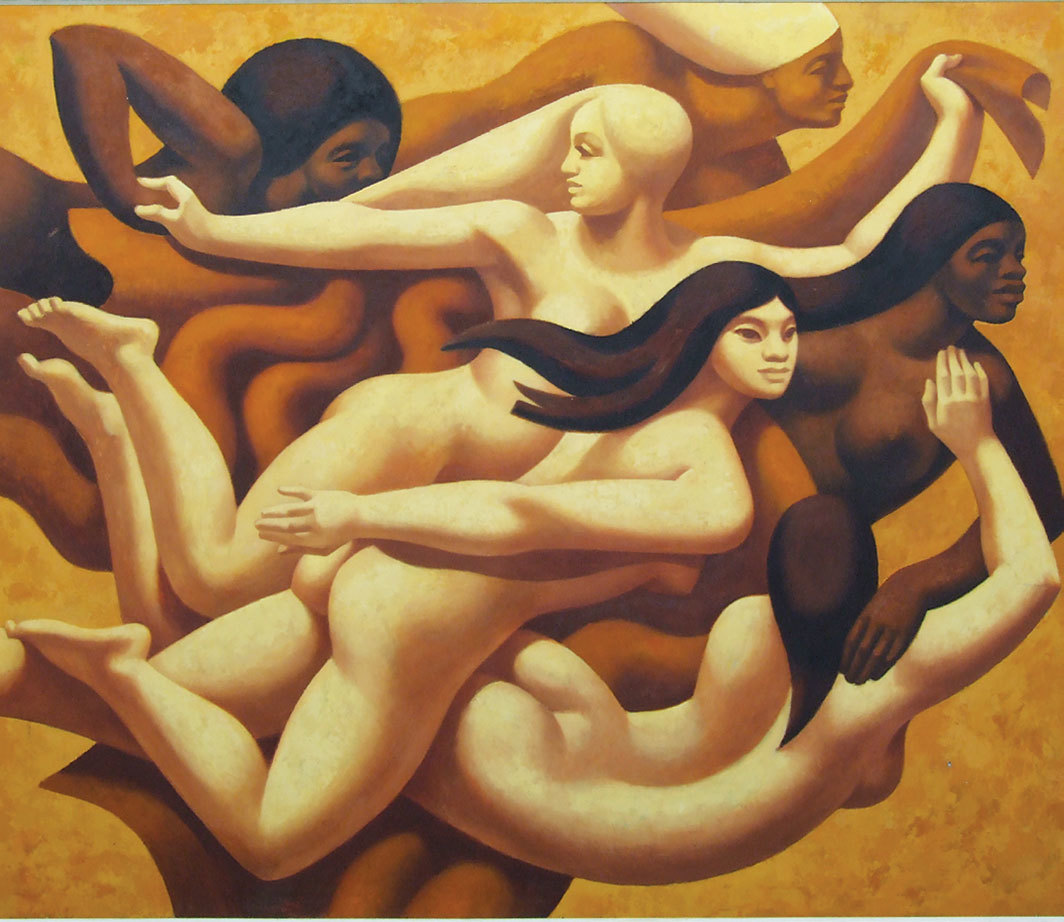 "Lothar Zitzmann, Frauen der Welt (Women of the World), 1974, oil on board, 63 × 76 3⁄8"". From ""East German Painting and Sculpture 1949–1990."""