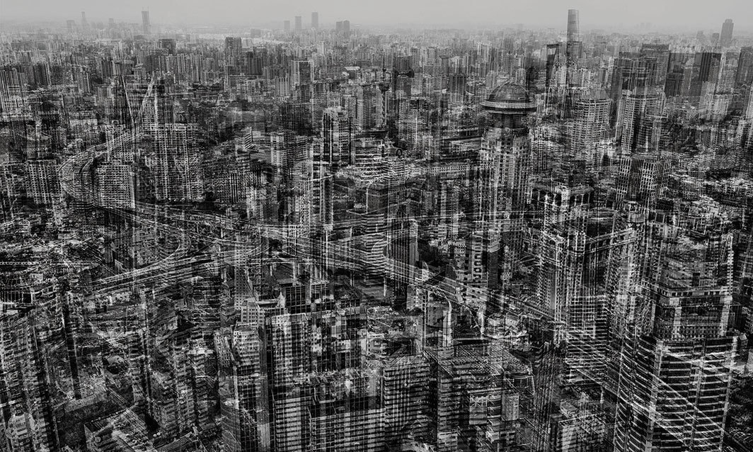 "Michael Najjar, Netropolis | Shanghai 2017, 2017, archival pigment print on aluminum Dibond, 70 7⁄8 × 118 1⁄8"". From ""The Legacy of Architectonic Futurism."""
