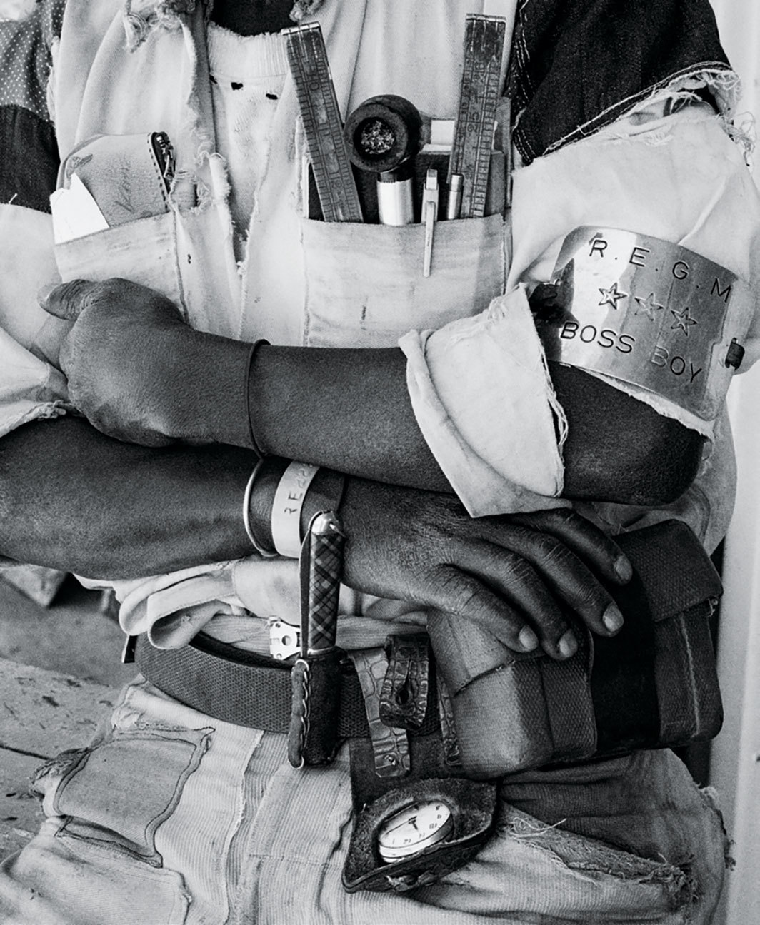 "David Goldblatt, 'Boss Boy' detail, Battery Reef, Randfontein Estates Gold Mine, 1966, carbon ink on paper, 14 3⁄8 × 11 3⁄4""."