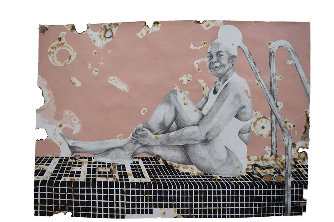 "Modupeola Fadugba, Pink Honey, 2018, acrylic, graphite, and ink on burnt paper, 51 × 72""."