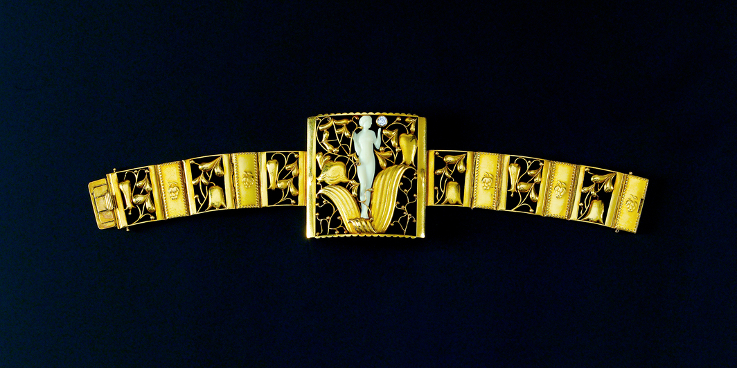 "Josef Hoffmann, Bracelet acquired by Mäda Primavesi, 1914, gold, diamond, ivory, 2 x 8""."