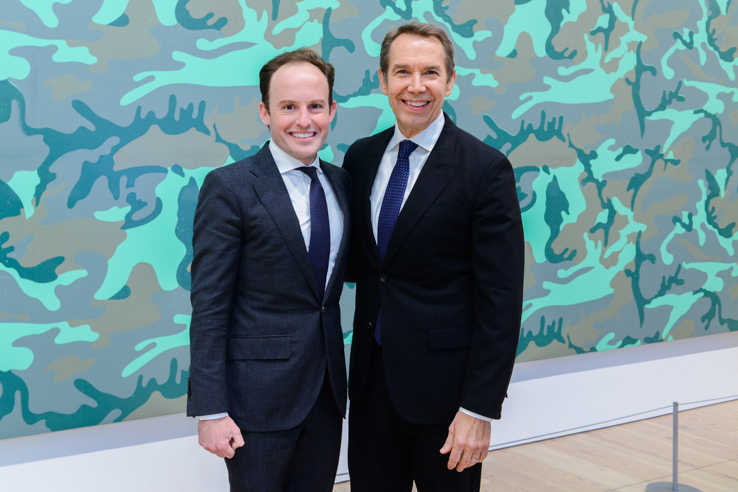 Whitney chief curator and senior deputy director Scott Rothkopf with artist Jeff Koons. Photo: Matthew Carasella.