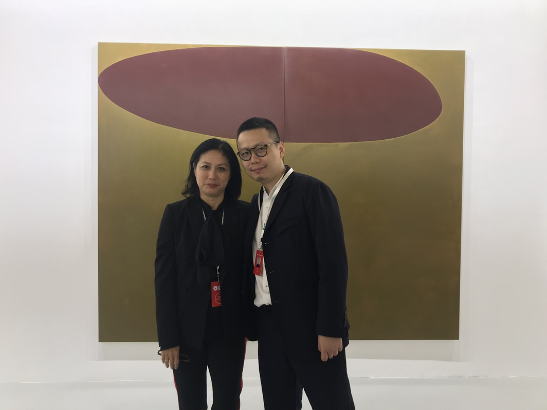 David Zwirner senior partner Angela Choon with David Zwirner Hong Kong director Leo Xu.