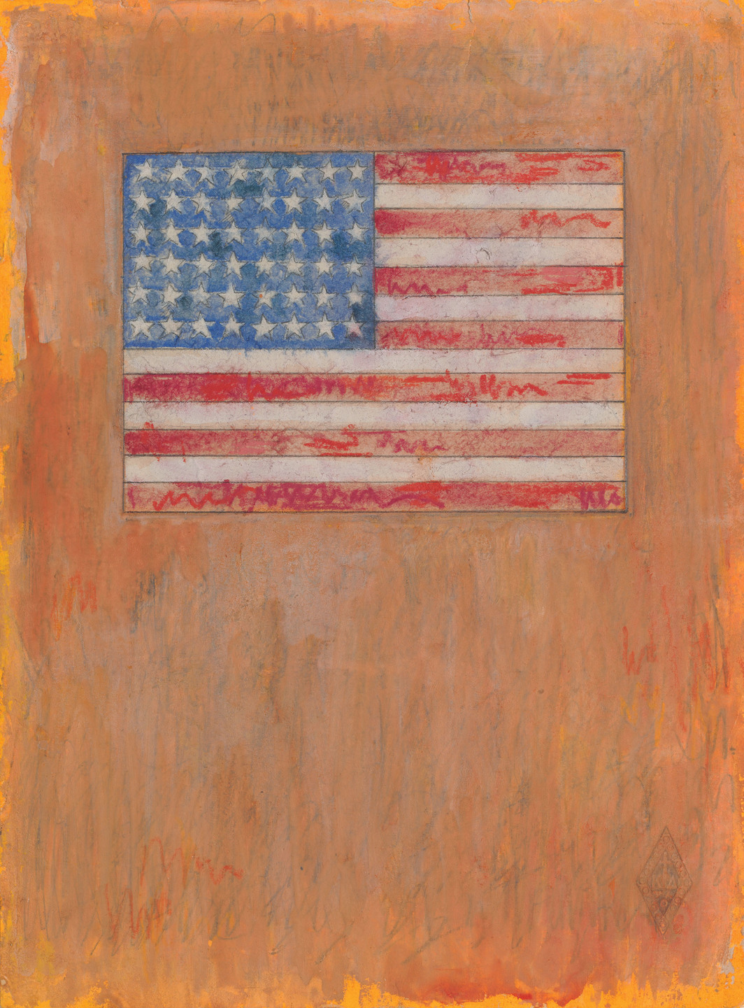 "Jasper Johns, Flag on Orange Field, 1957, fluorescent  paint, watercolor, pastel, graphite on paper, 10 1/2 x 7 3/4""."