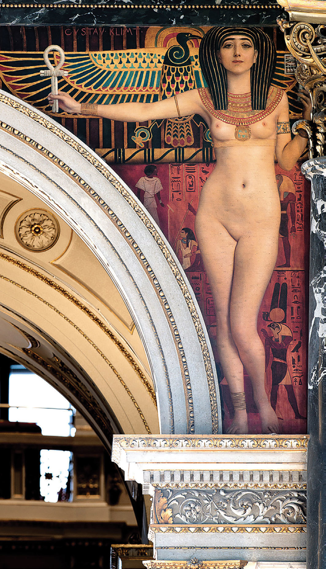 "Gustav Klimt's ""Ancient Egypt I"" panel, 1890–91, oil on canvas. Installation view, Kunsthistorisches Museum, Vienna, 2018."