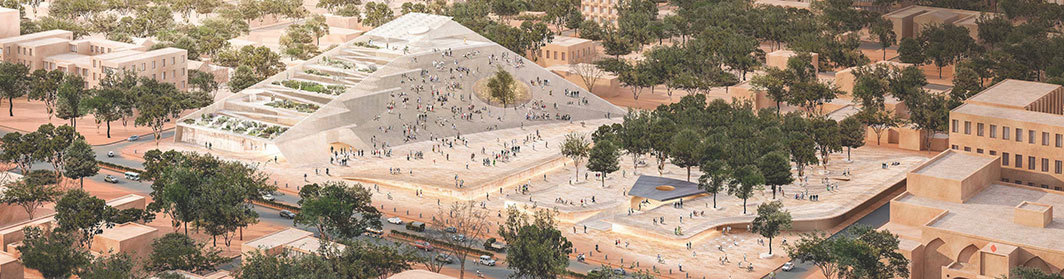 Diébédo Francis Kéré's 2018 proposal for the Burkina Faso National Assembly and Memorial Park, Ouagadougou, Burkina Faso. Rendering.