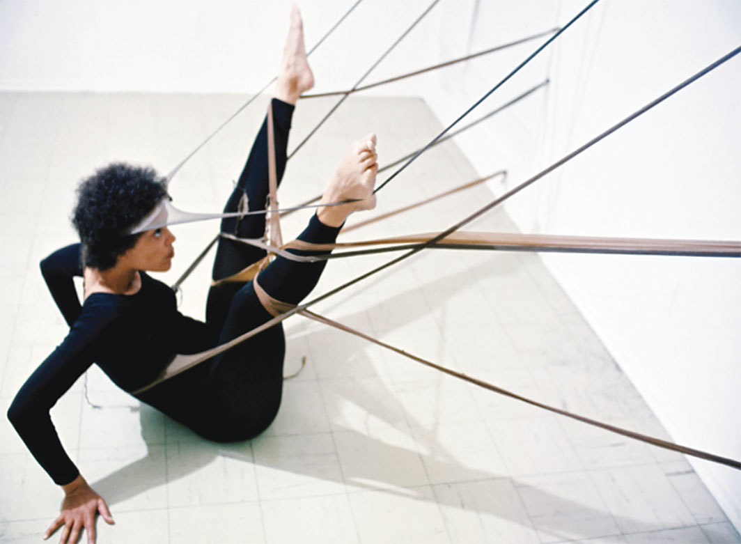 Senga Nengudi, R.S.V.P., 1977, nylon mesh, dimensions variable. Performance view. Maren Hassinger. Photo: Herman Outlaw.
