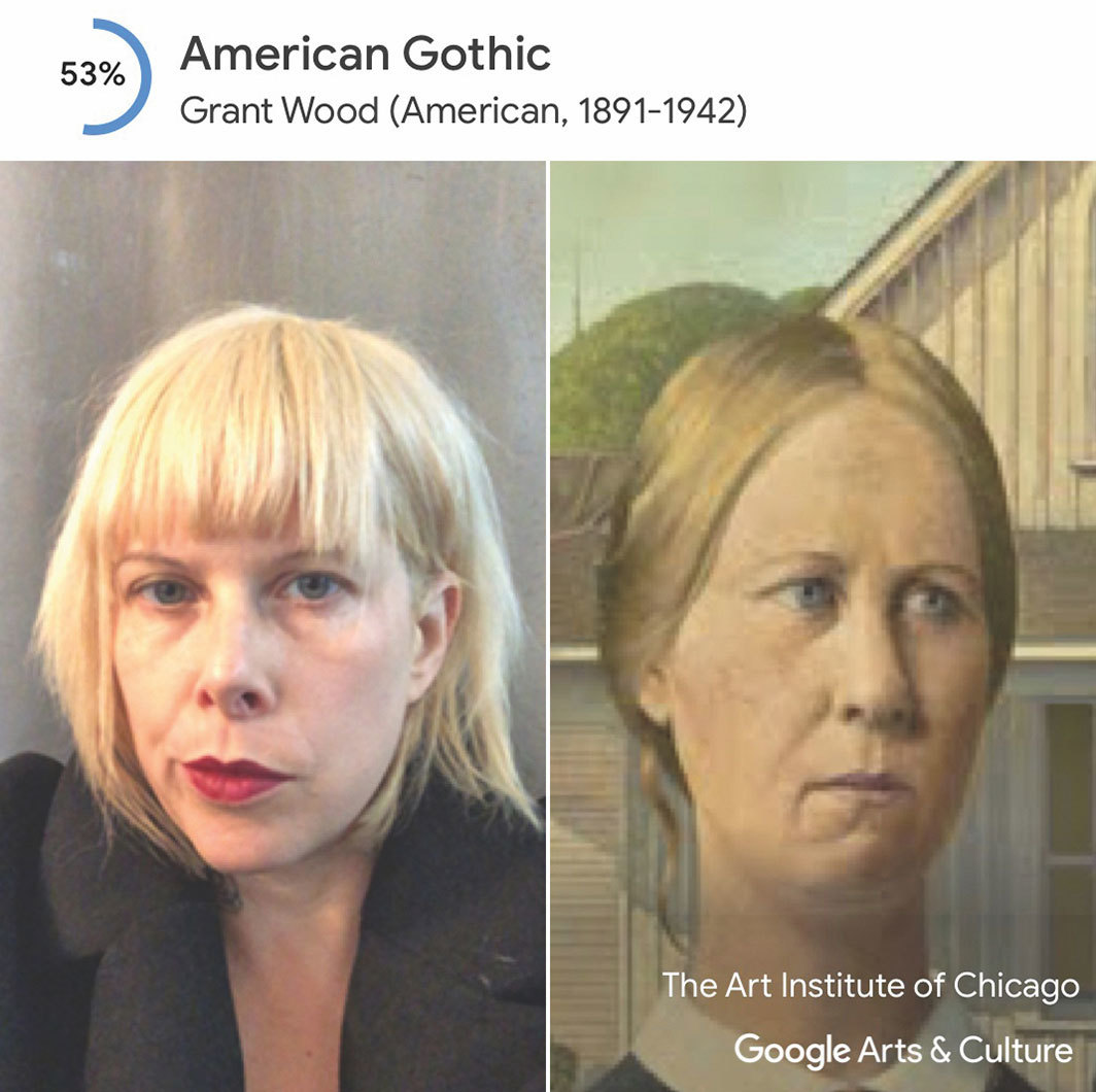 Johanna Fateman's Google Arts & Culture Art Selfie results, 2018.