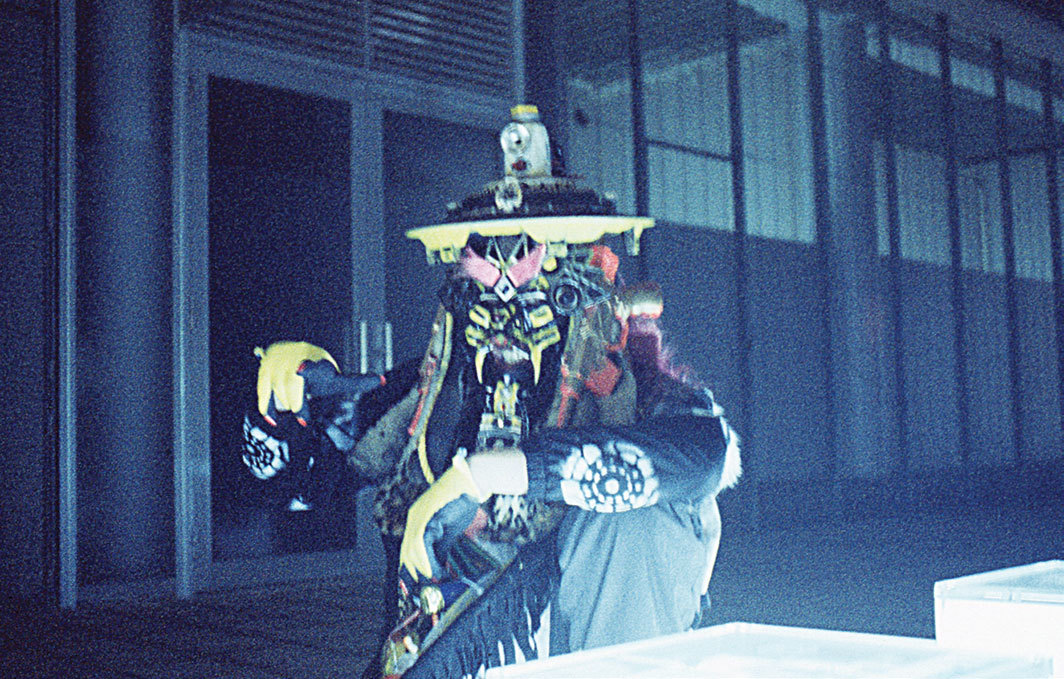 "RAMMΣLLZΣΣ wearing his ""Chaser the Eraser"" costume in 2004. From the series ""Garbage Gods,"" 1994–2001. Photo: Mari Horiuchi."