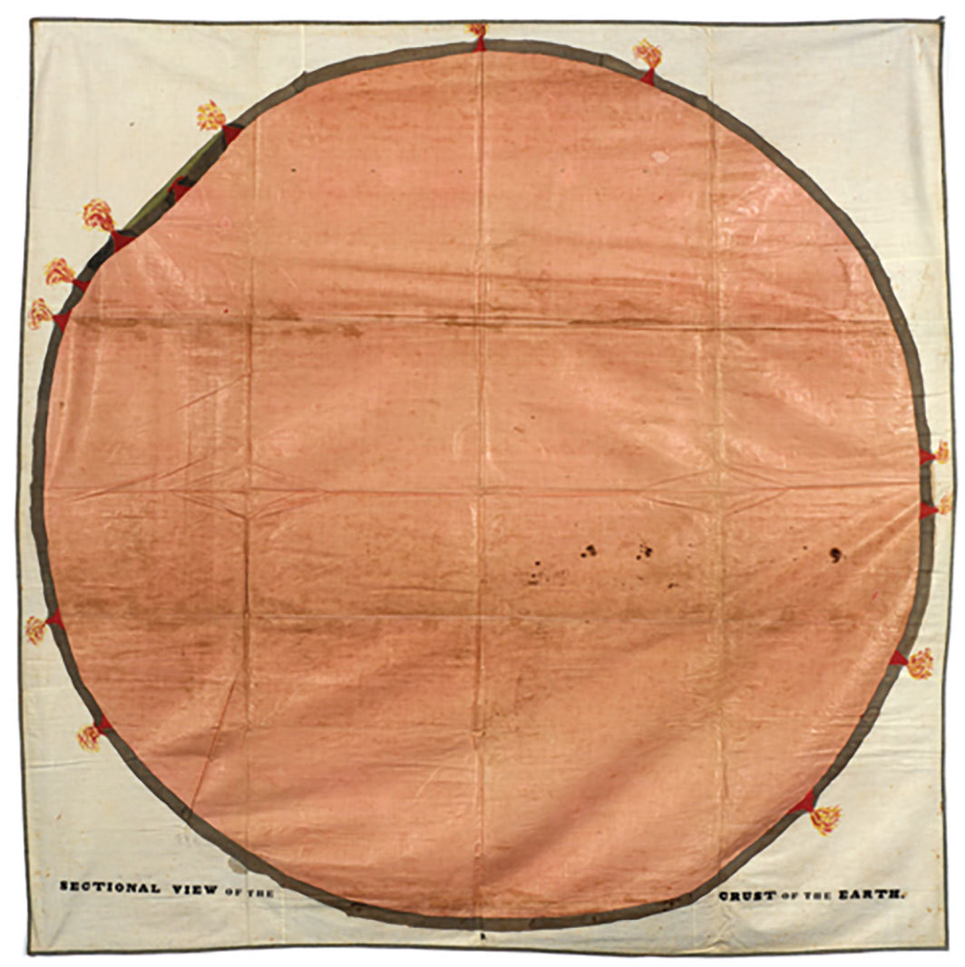 "Orra White Hitchcock, Sectional View of the Crust of the Earth, 1830–40, pen, ink, and watercolor on cotton, woven tape binding, 74 1⁄4 × 75 1⁄2""."