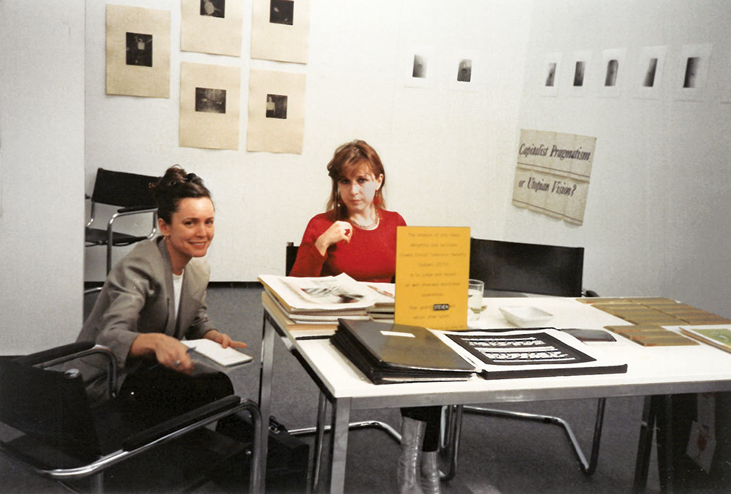 Pat Hearn and Julia Scher at Art Frankfurt, 1992.