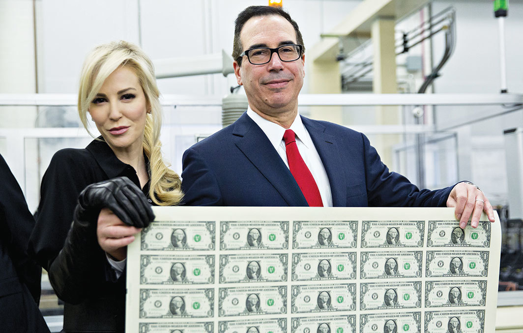 Louise Linton and Steven Mnuchin at the U.S. Bureau of Engraving and Printing, Washington, DC, November 15, 2017. Photo: Andrew Harrer/Bloomberg/Getty Images