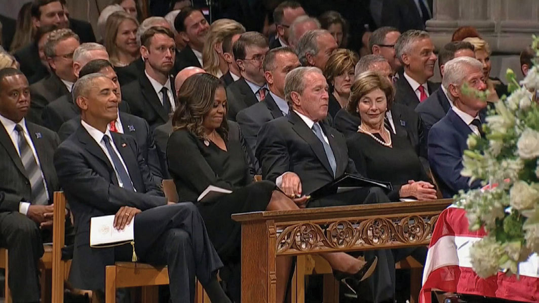 Barack Obama, Michelle Obama, George W. Bush, and Laura Bush at John McCain's memorial service, Washington National Cathedral, Washington, DC, September 1, 2018. Photo: AP.