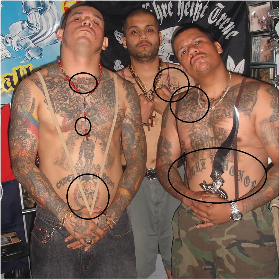 B49 members with pro-Nazi tattoos and paraphernalia, 2018.