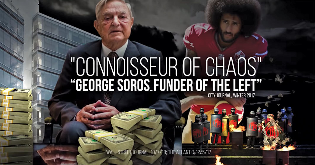 Still from a commercial for Minnesota's 1st Congressional District election, 2018. George Soros and Colin Kaepernick.