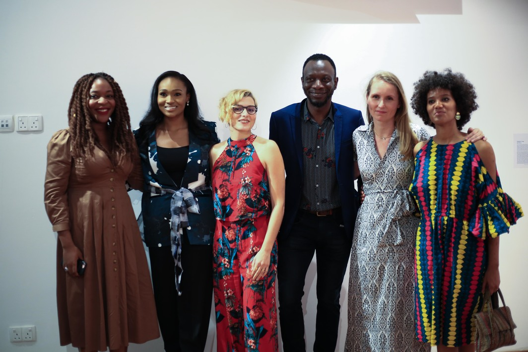 Curators Wunika Mukan, Bella Disu Adenuga, and Velentine Umansky with director Azu Nwagbogu, curator and creative director Charlotte Langhorst and curator Eva de Cavael at the private preview at The Adenuga building in Ikoyi.