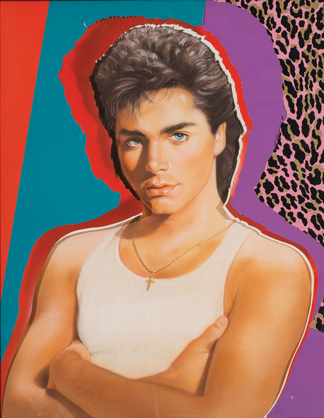 "Richard Bernstein, John Stamos, ca. 1984, airbrush, gouache, and collage on board, 23 × 18""."