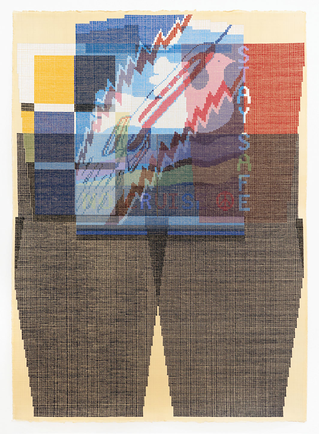 "Ellen Lesperance, Stay Safe, 2018, gouache and graphite on tea-stained paper, 42 × 29 1⁄2""."