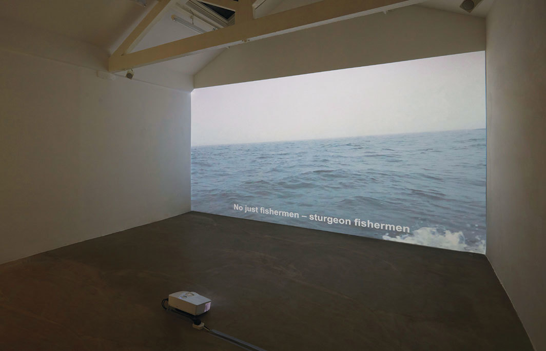 Taus Makhacheva, Baida, 2017, HD video, color, sound, 15 minutes 31 seconds. Installation view. Photo: Judita Kuniskyte.