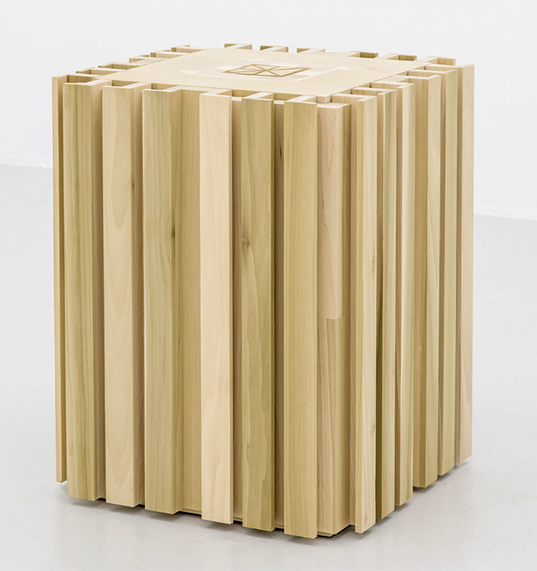 Francesco Gennari, Mausoleo per un verme (Mausoleum for a Worm), 2006, tulip-tree wood, sugar, worm, 24 × 19 1⁄2 × 19 1⁄2""