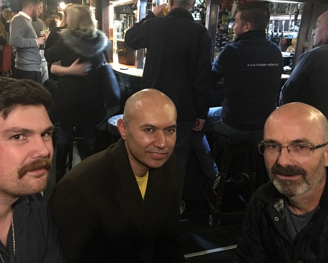 Paul Clinton, Tariq Alvi, and Simon Bedwell at pub after my reading at Goldsmiths.