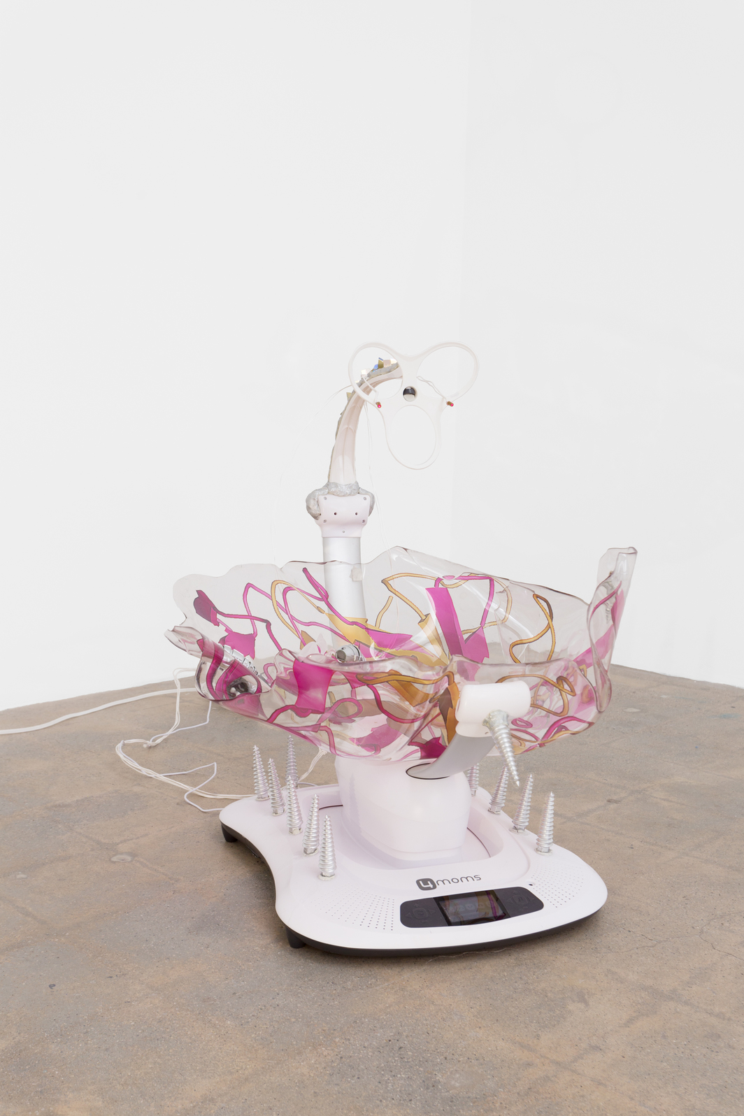 "Katja Novitskova, Mamaroo (Storm Time 3D Embryo),  2016, electronic baby swing, polyurethane resin, epoxy foam  clay, wall fixtures, robotic bugs,  3-D print, 31 x 28 x 33""."