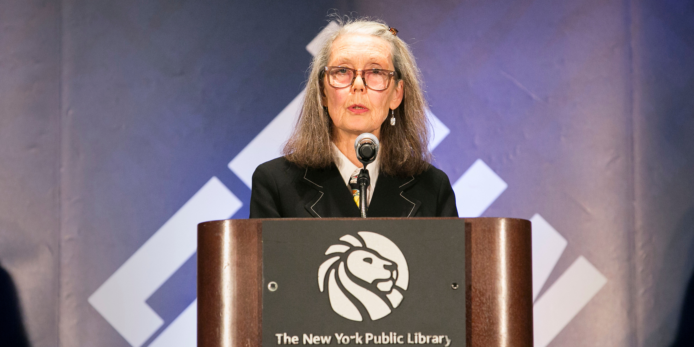 Anne Carson at the New York Public Library on December 7, 2018. Photo: Sarah Stacke / New York Public Library.