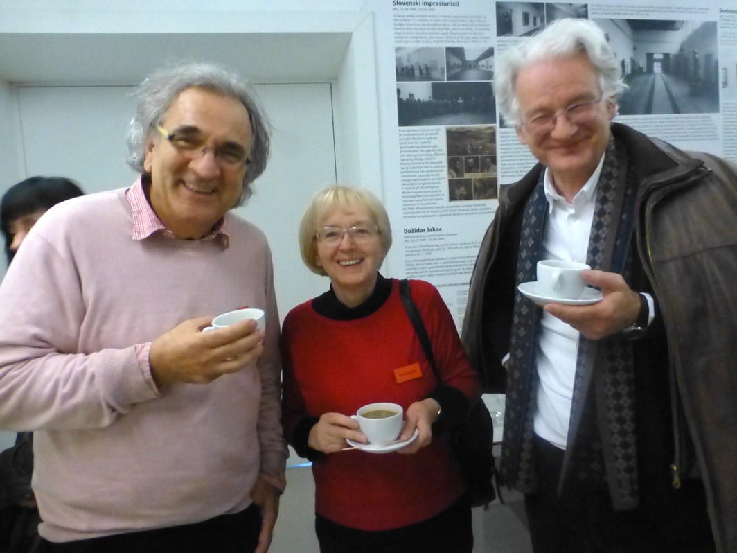 Curator Branka Stipačić with Irwin members Miran Mohar and Borut Vogelnik.