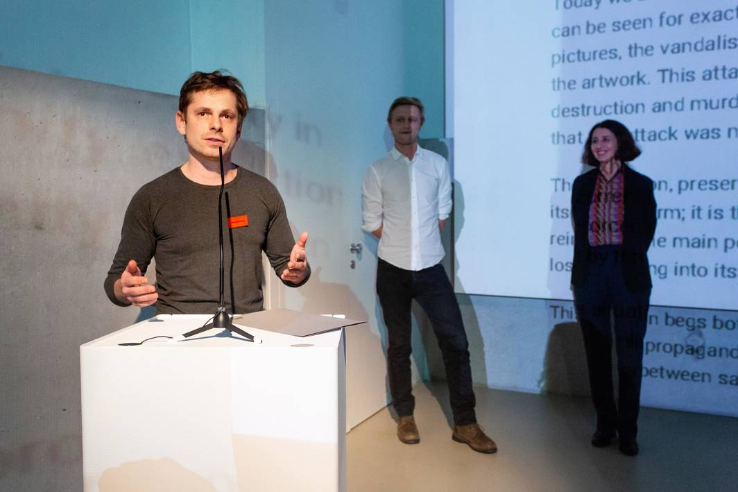 Igor Zabel Award Grant winner Oleksiy Radynski, of Kyiv's Visual Culture Research Center.