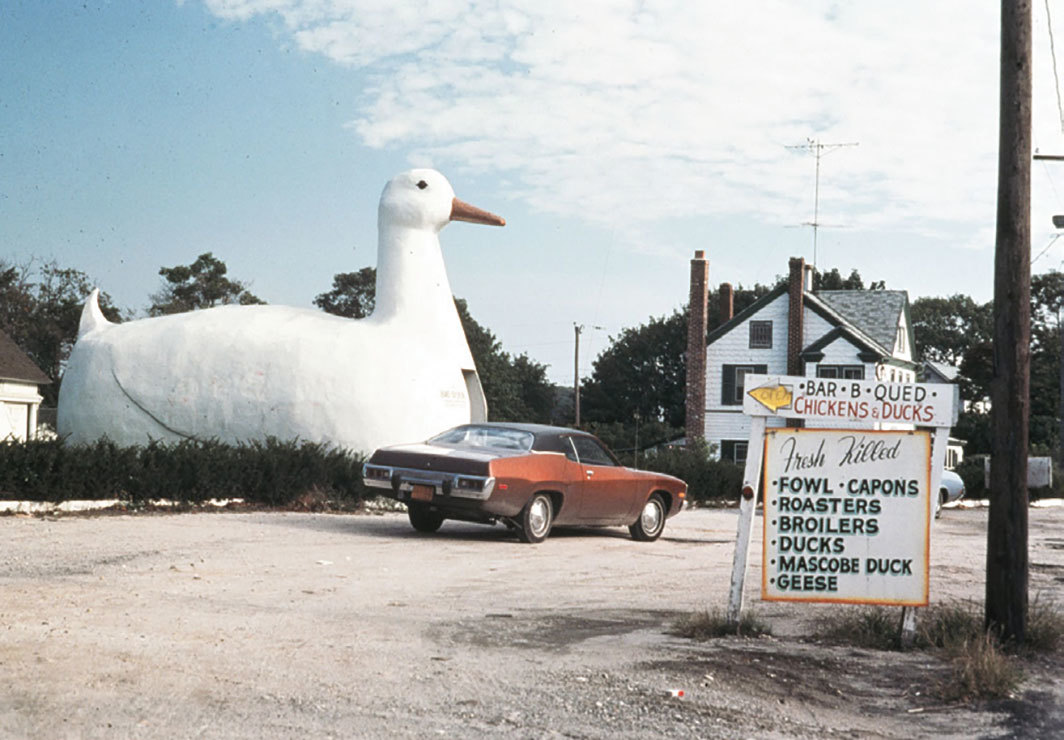 """The Big Duck,"" Flanders, New York, 1970. Photo: Venturi, Scott Brown and Associates."