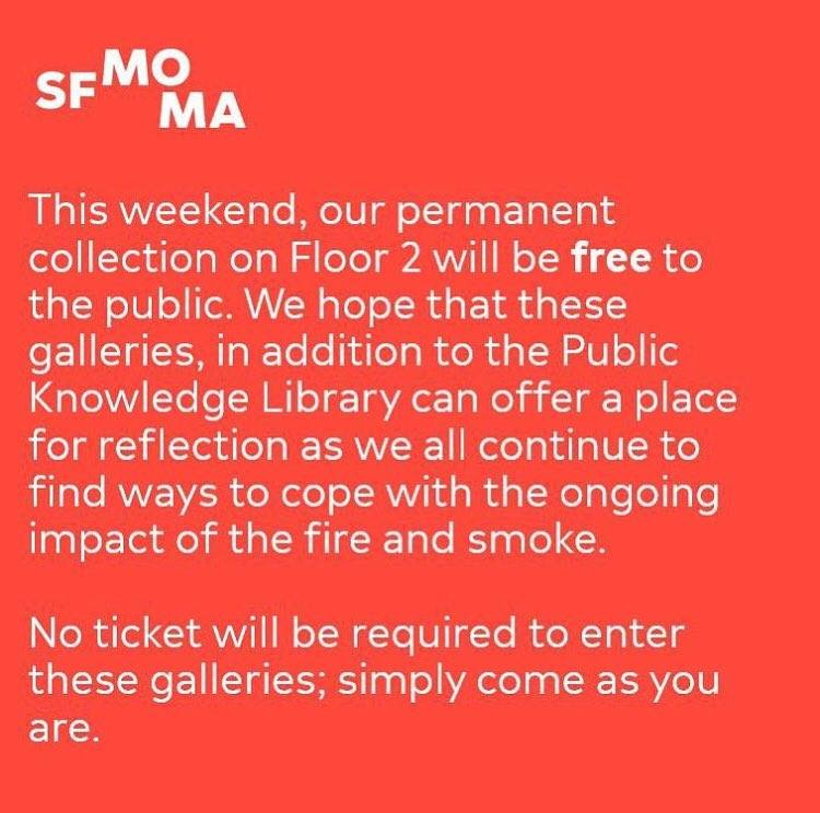 A notice from SFMOMA's Facebook page on November 16, 2018.