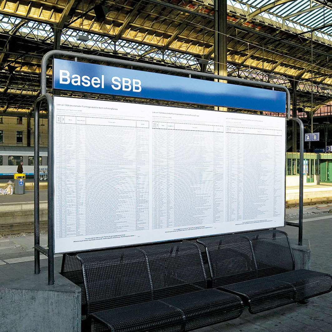 The List, 2006–, list of 13,824 documented deaths of refugees and migrants, posters. Installation view, Bahnhof Basel, 2011. Documentation as of June 17, 2010, by UNITED for Intercultural Action.