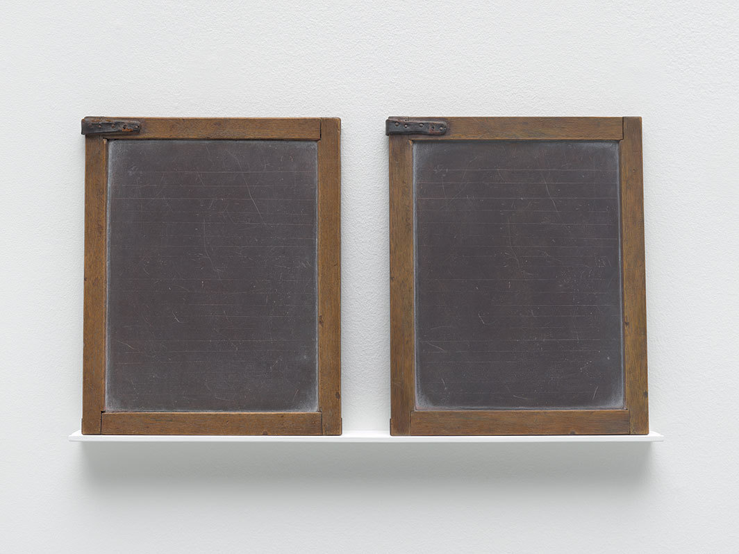 "Vija Celmins, Blackboard Tableau #12, 2007–15, leather, acrylic, alkyd oil, and pastel on wood, found tablet, each panel 11 × 8 1⁄2""."