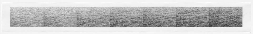"Vija Celmins, Untitled (Ocean Steps #2), 1973, graphite on acrylic ground on paper, 11 3⁄4 × 98 3⁄8""."
