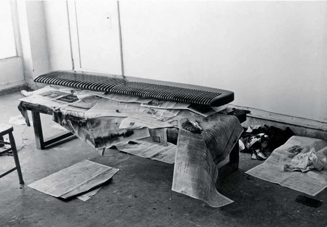 Vija Celmins's Comb, 1969–70, drying in her studio, Los Angeles, 1969.