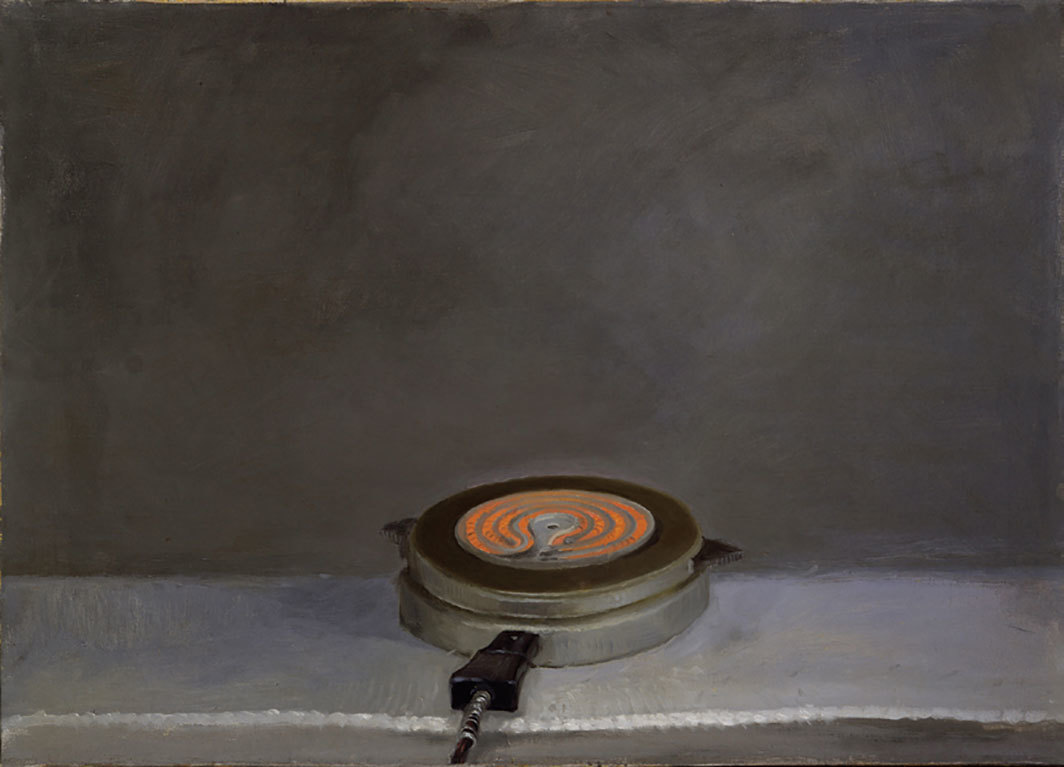 "Vija Celmins, Hot Plate, 1964, oil on canvas, 25 × 35""."