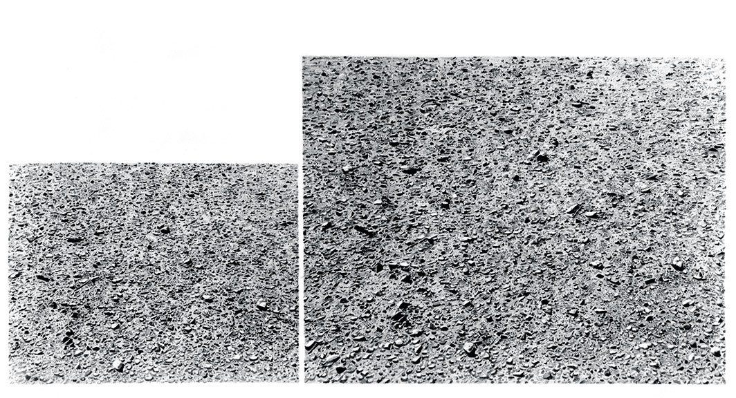 "Vija Celmins, Untitled (Double Desert), 1974, graphite on acrylic ground on paper, 12 5⁄8 × 24 1⁄8""."