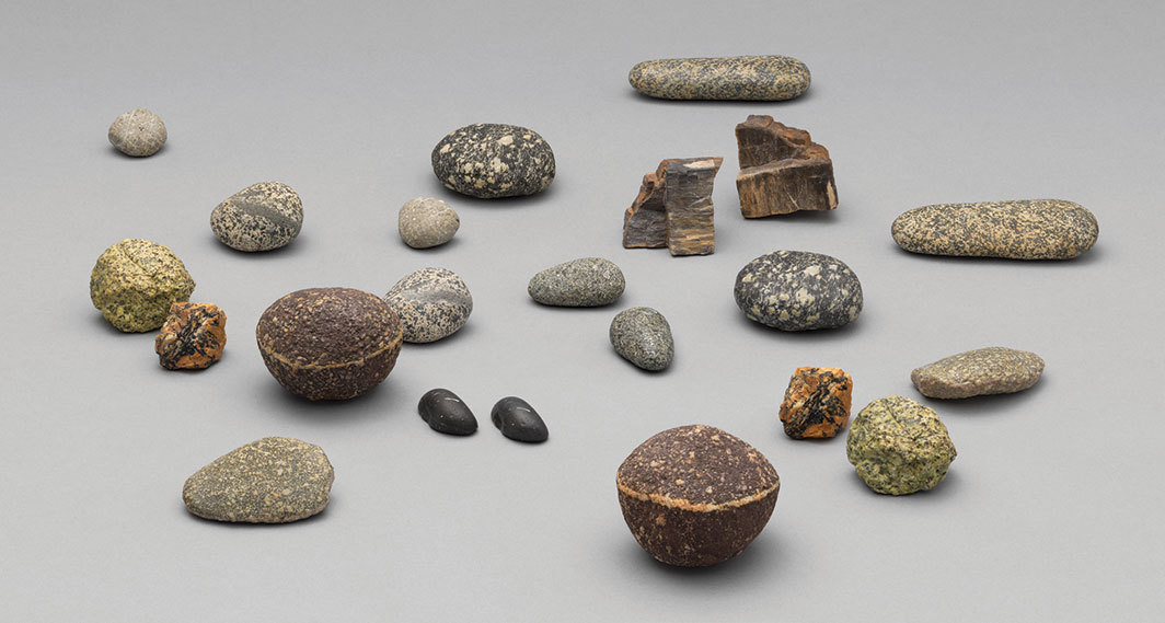 Vija Celmins, To Fix the Image in Memory I–XI, 1977–82, acrylic paint on eleven bronze objects, eleven stones, dimensions variable.