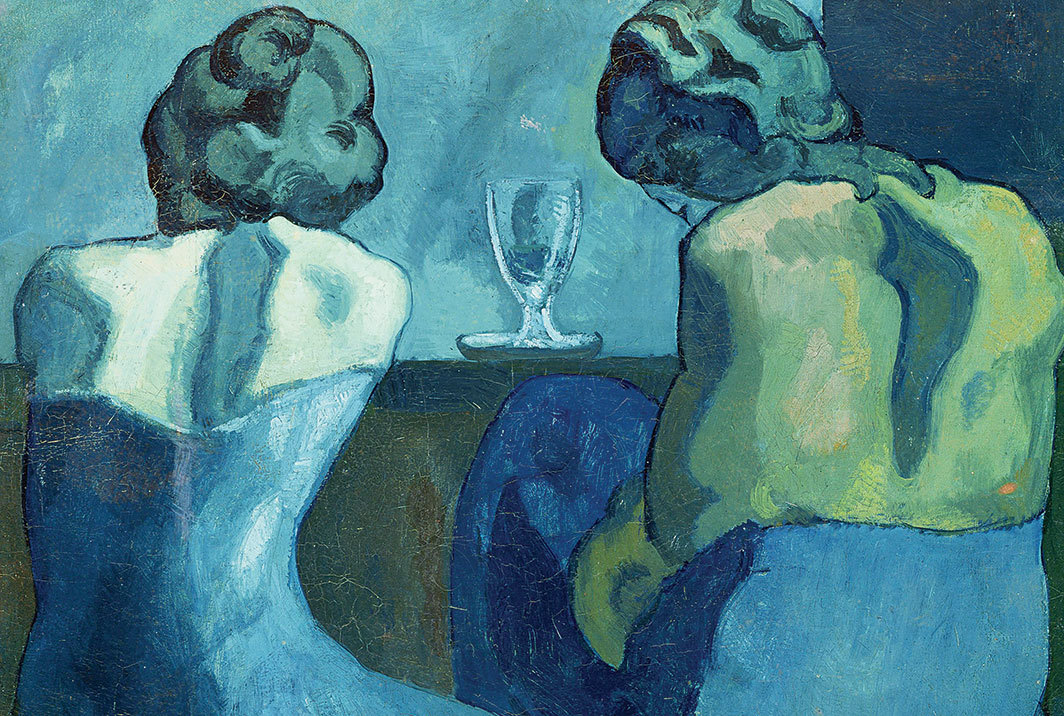 "Pablo Picasso, Pierreuses au bar (Two Women at a Bar), 1902, oil on canvas, 31 1⁄2 × 36""."