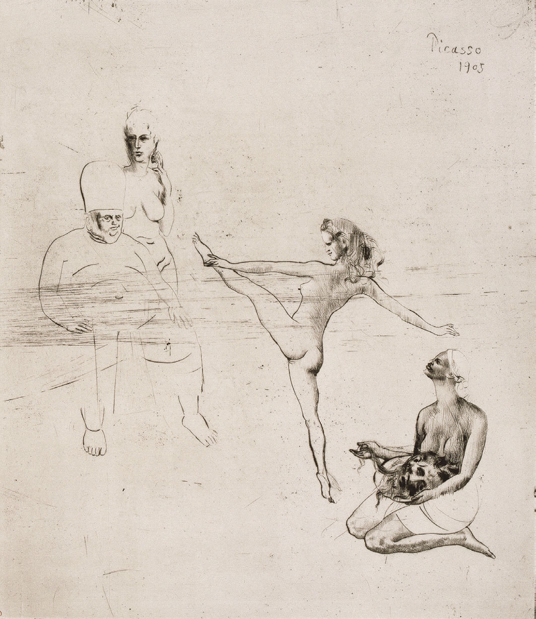"Pablo Picasso, Salomé, 1905, drypoint etching on paper, 15 7⁄8 × 13 3⁄4"". From the series ""Saltimbanques"" (Acrobats), 1905."