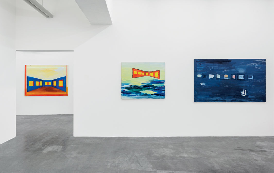 "View of ""René Daniëls: Fragments from an Unfinished Novel,"" 2018. From left: Painting on the Bullfight, 1985; De slag om de twintigste eeuw (Battle for the Twentieth Century), 1984; Painting on Unknown Languages, 1985. Photo: Hugard & Vanoverschelde Photography."