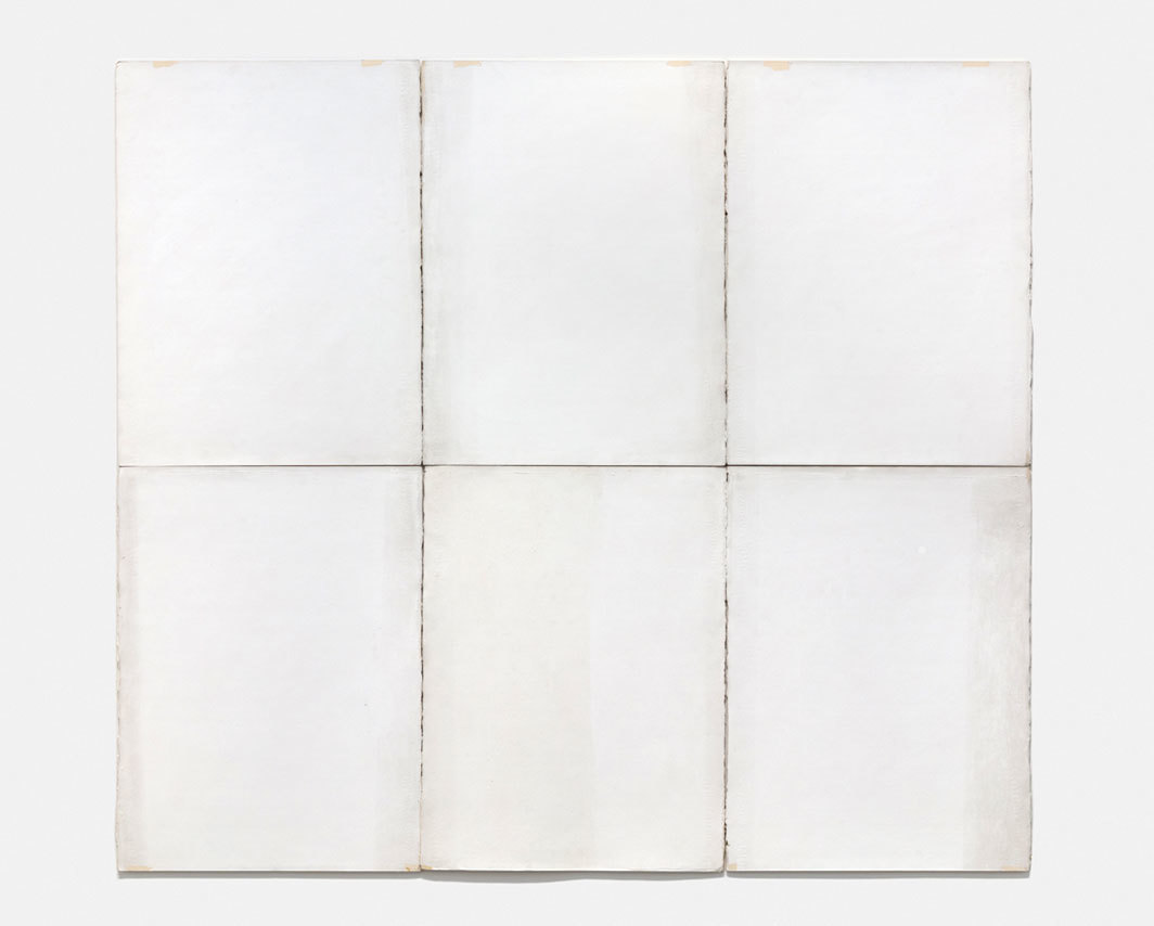 "Robert Ryman, Classico 6, 1968, acrylic on six sheets of handmade watermarked Classico paper mounted on foamcore, each sheet approx. 30 x 22 1/2"". From ""50 Years: An Anniversary."""